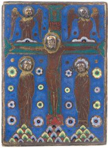 Placa en cobre dorado, grabado y con esmaltes en champlevé. Limoges. Francia. hacia 1210 - 1220. Salida: 20.000 euros Remate: 40.000 euros
