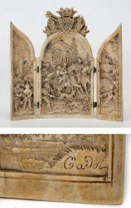 735 Triptico en marfil, probablemente Dieppe, Francia S.XIX, con firma Cadot.00