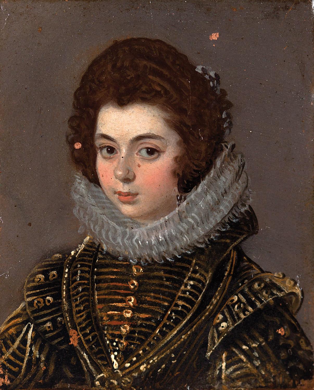Atribuido a Diego Velázquez. Pequeño retrato de dama, de busto, con amplia gola y su pelo decorado con finos lazos azul-grises. Salida: 300.000 euros