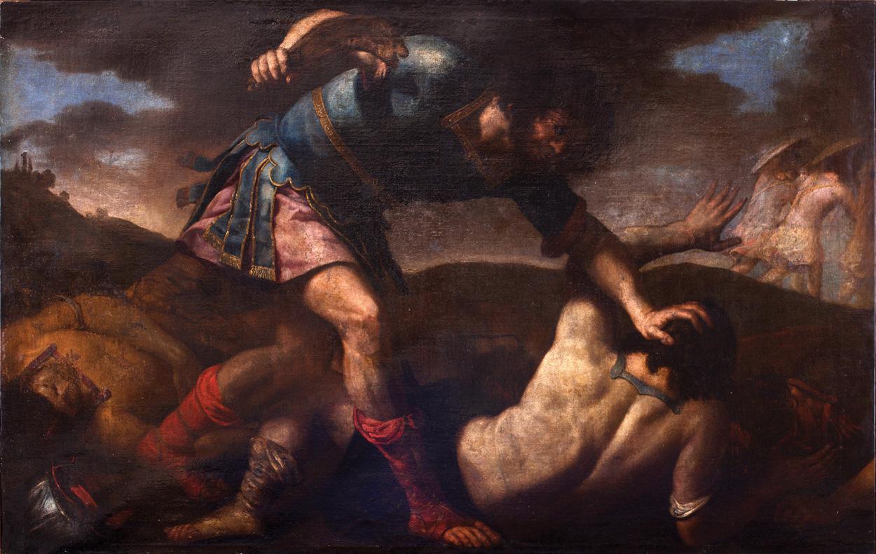 Circulo de Vicente Carducho. Sansón mata a los filisteos con una quijada. Salida: 12.000 euros