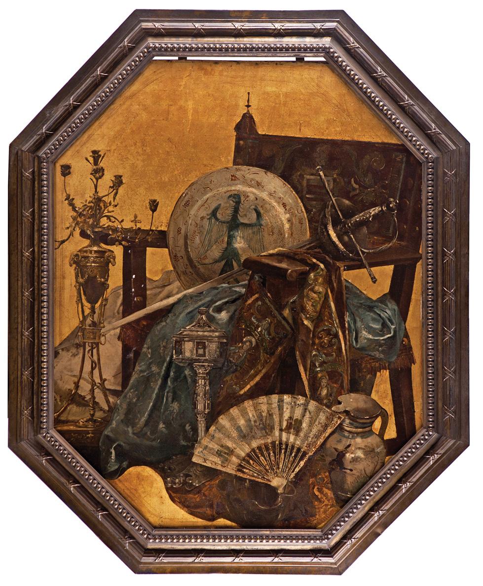 Eugenio Lucas Villaamil. Bodegón con sillón frailero, textiles, cerámicas, espada, candelabro de bronce y abanico. Salida: 4.000 euros