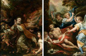 Francisco Rizi. La flagelación de san Jerónimo y Las tentaciones de san Antonio. Salida: 25.000 euros cada uno
