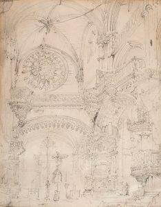 Genaro Pérez Villaamil. Interior de la iglesia de San Esteban, Burgos. Salida: 700 euros