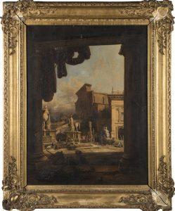 Jodocus Sebastiaen van den Abeele. Vista del Campidoglio, Roma, 1852. Salida: 1.200 euros