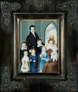Josefina Mesa. Retrato de Don Eusebio Page y Alvareda, su mujer y seis hijos. Salida y remate: 2.500 euros. Comprado por el Estado