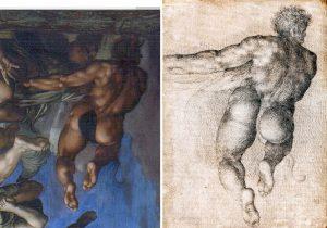 Escuela italiana S. XVII. Figura demoníaca de espaldas. Salida: 250 euros. Remate: 7.000 euros (con imagen del Juicio Final de Miguel