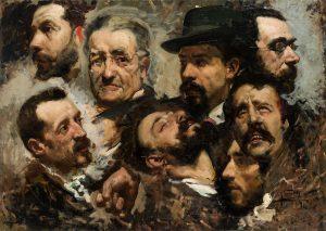 Joaquín Sorolla. Mis amigos. Estudio de ocho cabezas masculinas, 1884. Salida: 40.000 euros