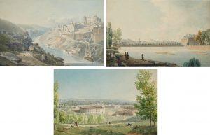 Jean Lubin Vauzelle. Vista de la ciudad de Toledo desde el Tajo, h. 1801-1803, Vista de la campiña de Aranjuez y Vista del Palacio de Aranjuez. Salidas: 4.000, 4.000 y 6.000 euros, respectivamente. Remate: 8.000 euros cada una
