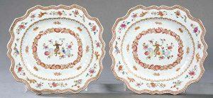 116_787 Pareja de fuentes mixtilíneas de porcelana de Compañía de Indias, Familia Rosa, Dinastía Qing, época de Qienlong 1736-98 h. 1750.00