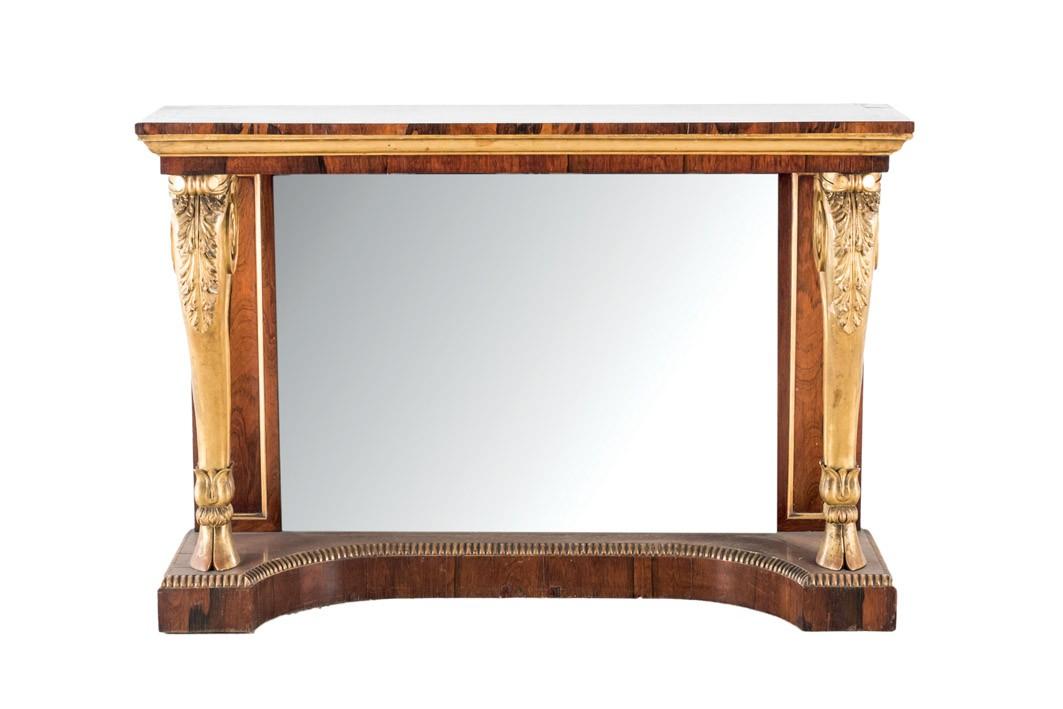 666 Consola de madera de palo santo, h. 1900. Trasera de espejo y patas frontales doradas y talladas.00