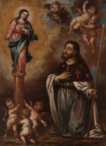 Círculo de Alonso Cano, -La Aparición de la Virgen del Pilar al Apóstol Santiago-