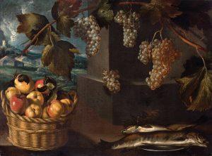 Atribuido-al-Maestro-del-Bodegon-de-la-coleccion-Stirling-Maxwell-Bodegon-con-racimos-de-uvas-cesta-de-manzanas-y-plato-de-pescados-con-paisaje-al-fondo-c1630