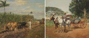 Eduardo-Morales-En-la-plantacion-de-azucar-y-Carruaje-de-caballos-junto-a-la-hacienda-1918