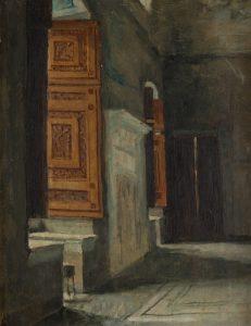 Eduardo Rosales. Interior palaciego, boceto para la Presentación de don Juan de Austria al emperador Carlos V, en Yuste, 1869. Salida: 800 euros. Remate: 3.000 euros