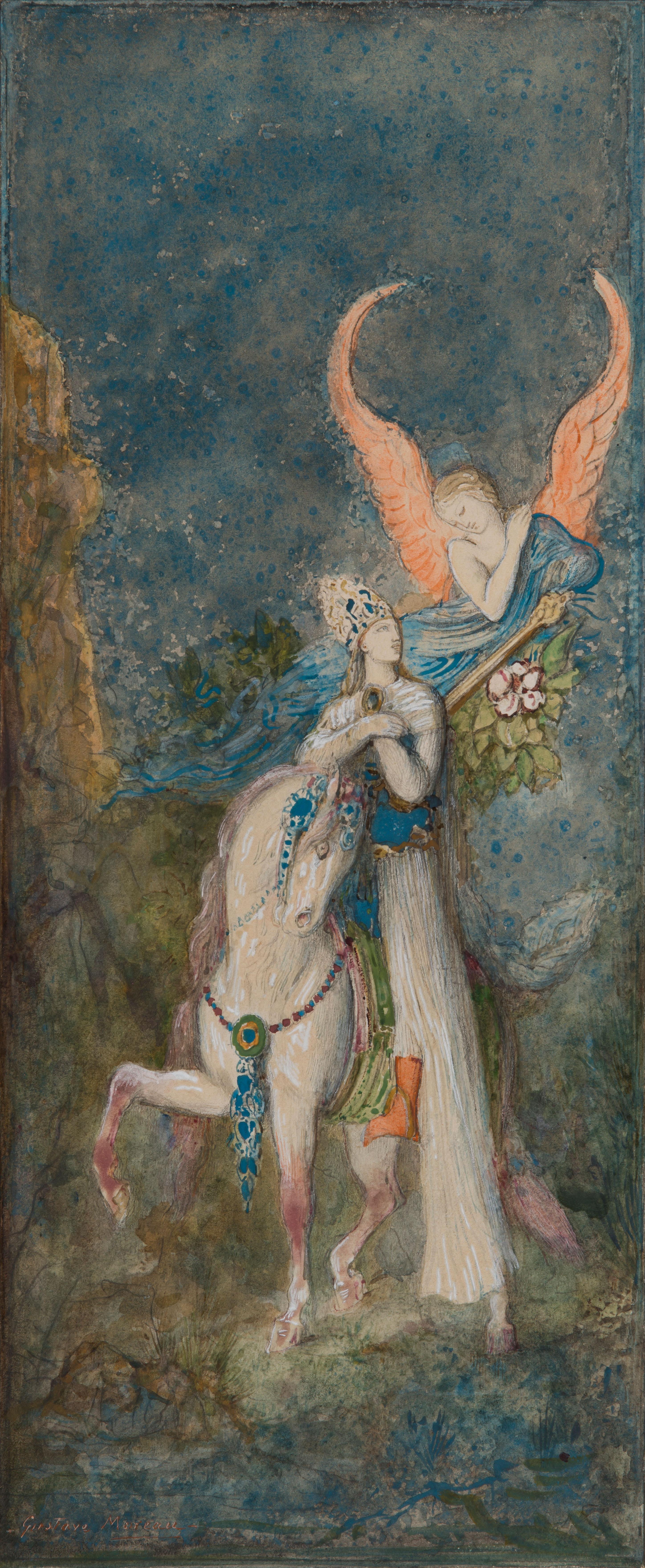 Gustave-Moreau-Le-poa݈te-persan-vers-1886-mine-de-plomb-aquarelle-et-gouache-sur-papier-365x164mm-Galerie-Talabardon-et-Gautier
