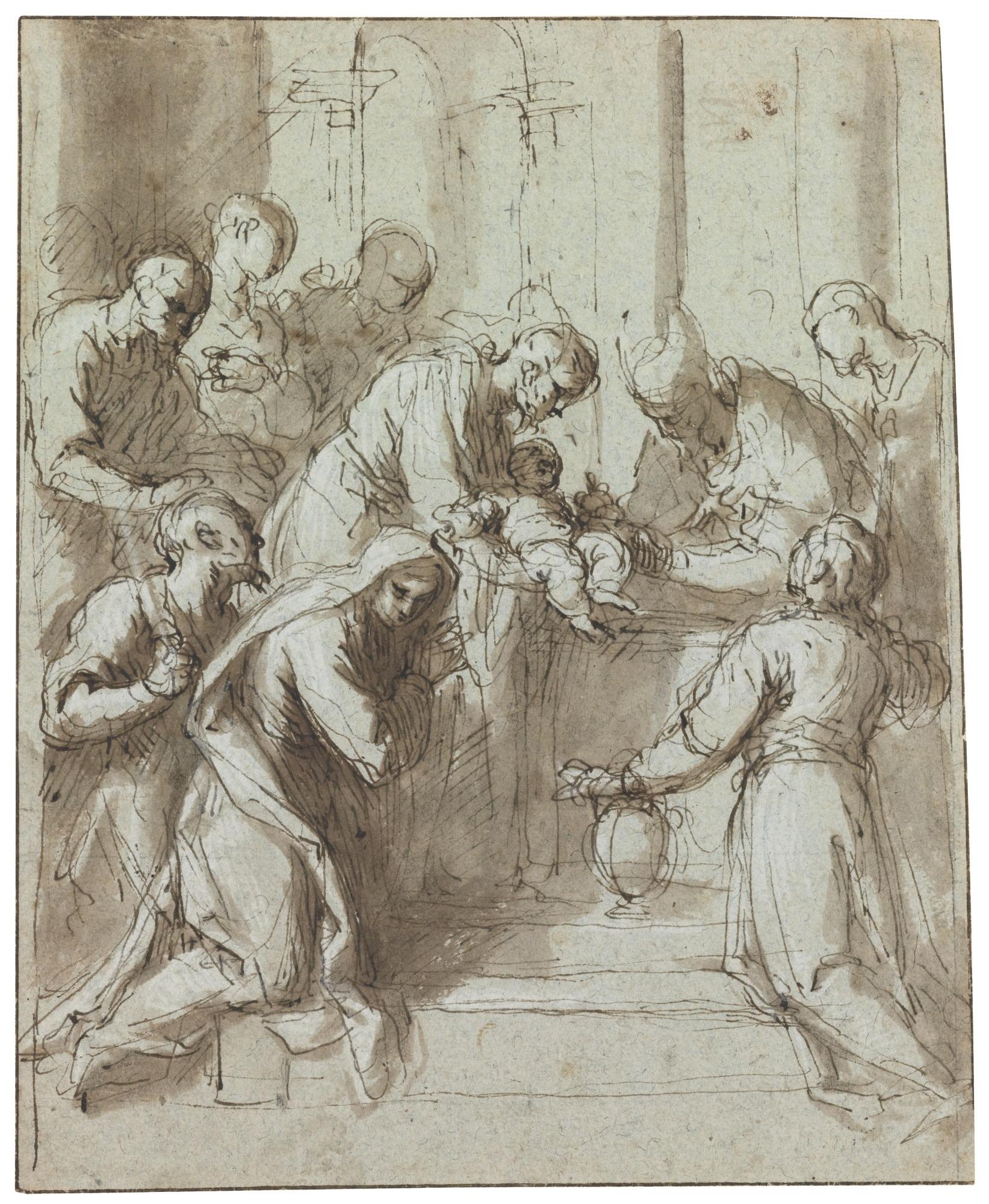 Jacopo-Palma-dit-Palma-il-giovane-la-circoncision-du-christ-plume-et-encre-bune-lavis-brun-rCݧhaussCݧ-de-blanc-sur-papier-bleu-craie-balche-au-verso-214x174mm-Martin-Graessle
