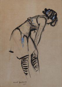 Marcel-Duchamp-Jeune-femme-au-corset-O݈-ruban-bleu-1912-encre-de-chine-mine-de-plomb-et-gouache-sur-papier-295x205cm-Galerie-HCݧla݈ne-Bailly