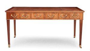 1403-Mesa-de-despacho-Jorge-III-en-madera-de-caoba-y-tiradores-en-bronce-Inglaterra-ca.1800