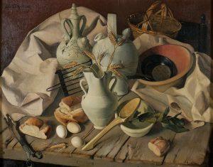 Antonio-Arjona-Bodegon-con-panes-huevos-y-piezas-de-ceramica-c1949
