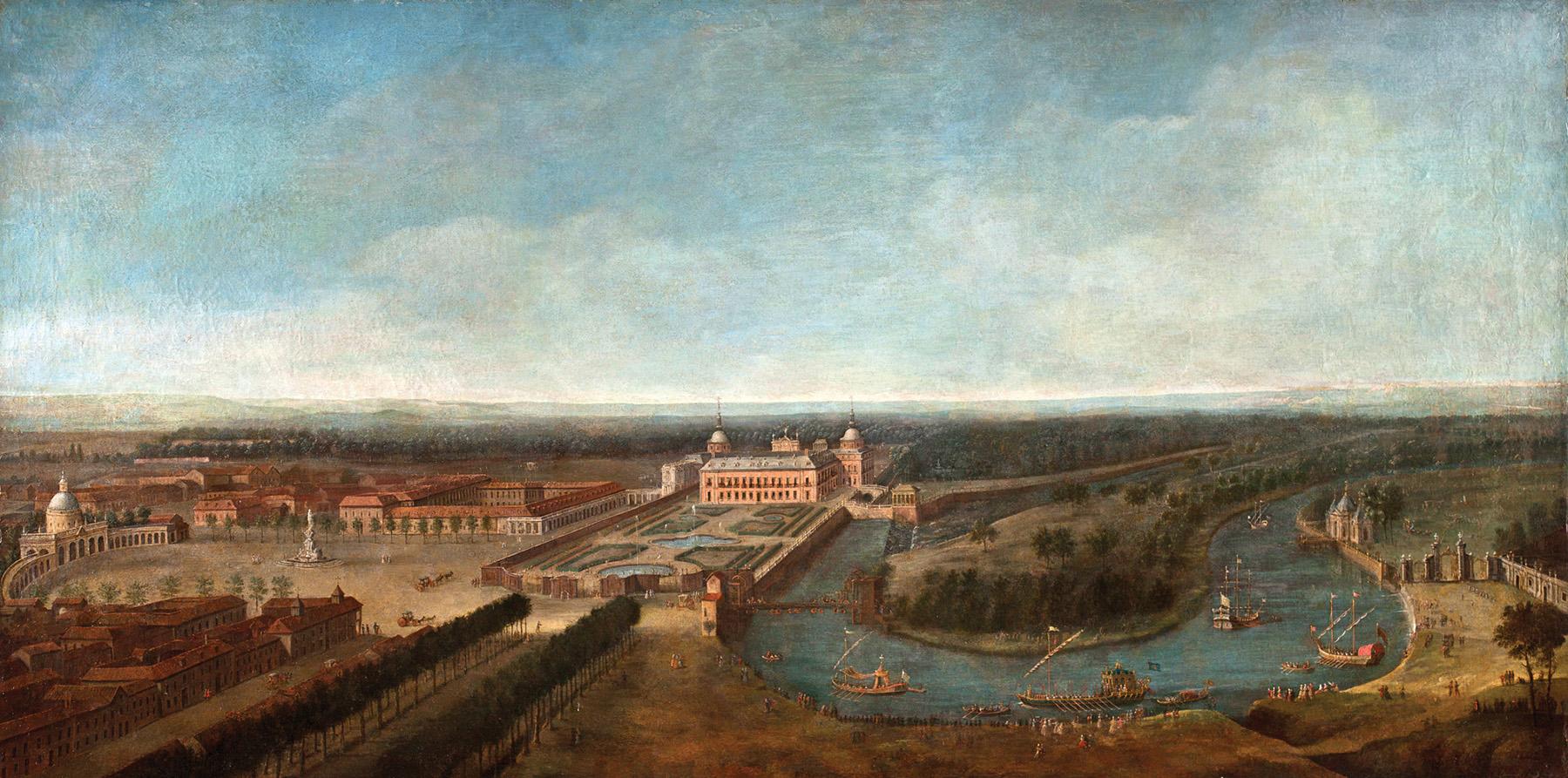 Antonio Joli. Vista panorámica del Palacio de Aranjuez con la plaza de san Antonio y el río Tajo con su embarcadero. Salida: 100.000 euros