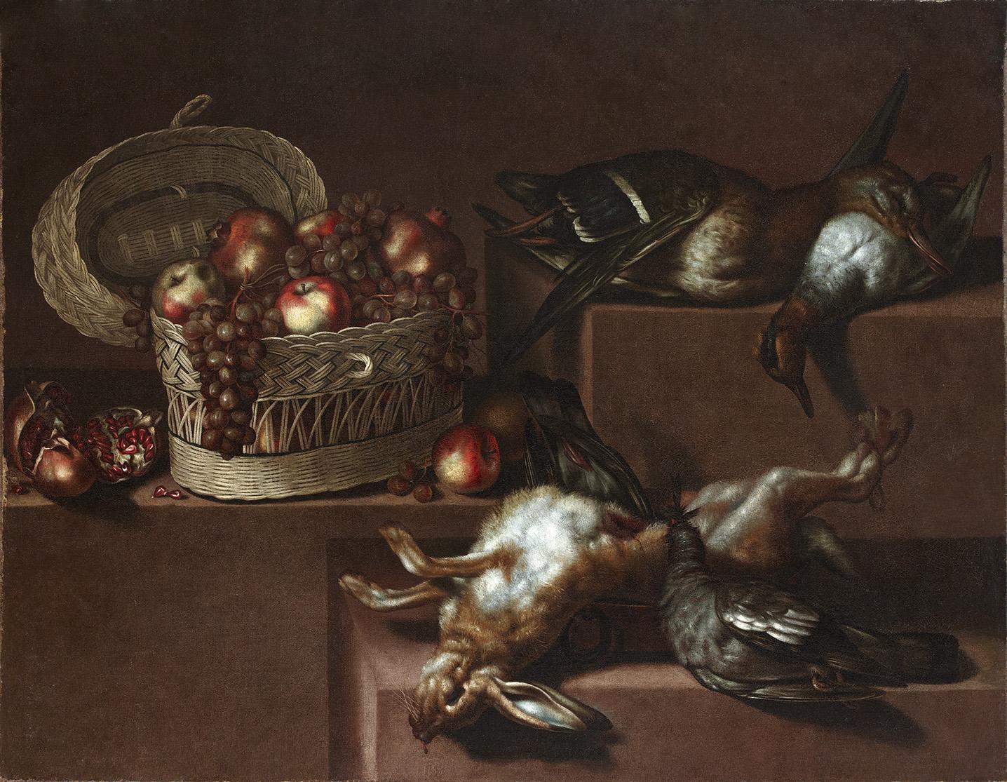 Antonio-Ponce-Bodegon-con-cesto-de-fruta-anades-paloma-y-liebre