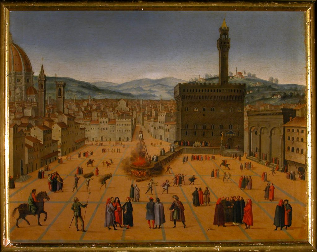 SCUOLA FIORENTINA DEL XVI – Veduta della Piazza Signoria col rogo di Savonarola