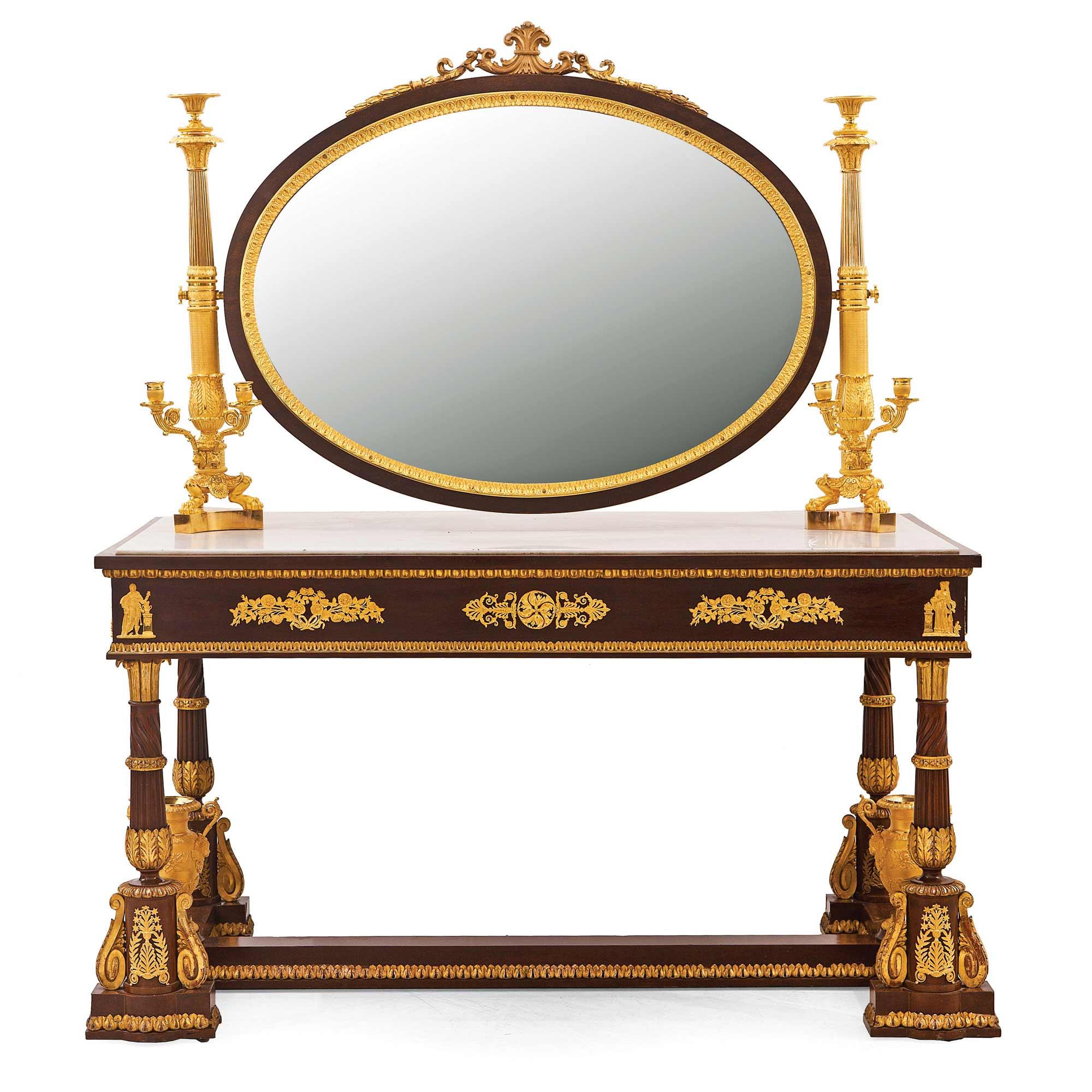 1395-Tocador-estilo-Imperio,-época-Napoleón-III,-en-madera-de-caoba,-dorada,-con-aplicaciones-de-bronce-dorado-y-mármol,-Francia,-segunda-mitad-S.-XIX.02
