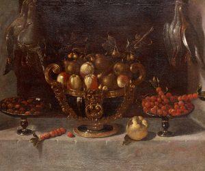 Bodegón con gran frutero y aves de caza colgadas – Juan Van der Hamen y León