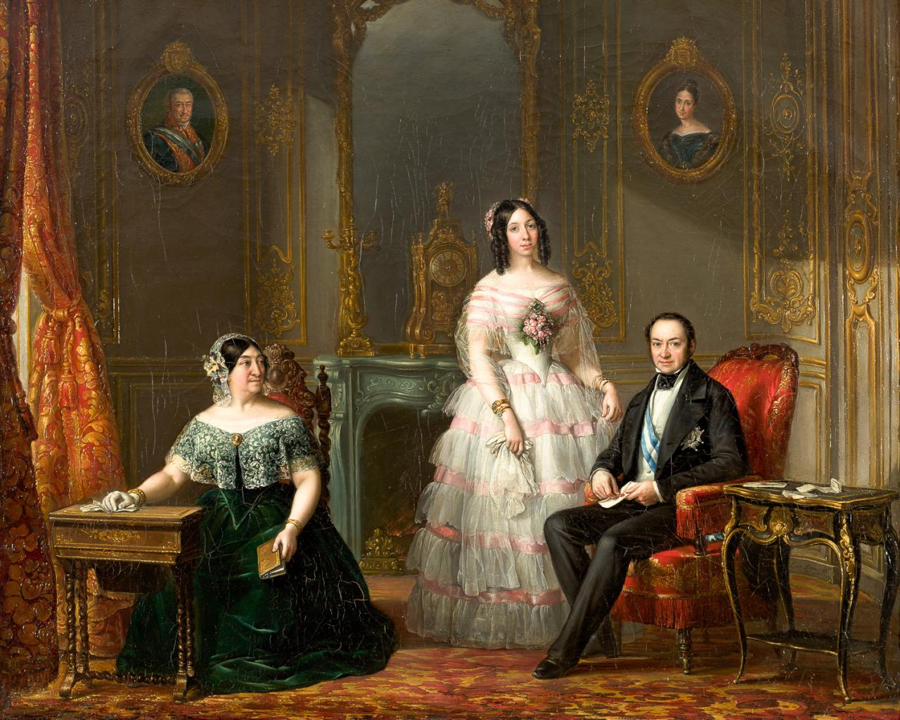 El Duque de Fernan Nuñez con su hija y la Condesa – Luis López