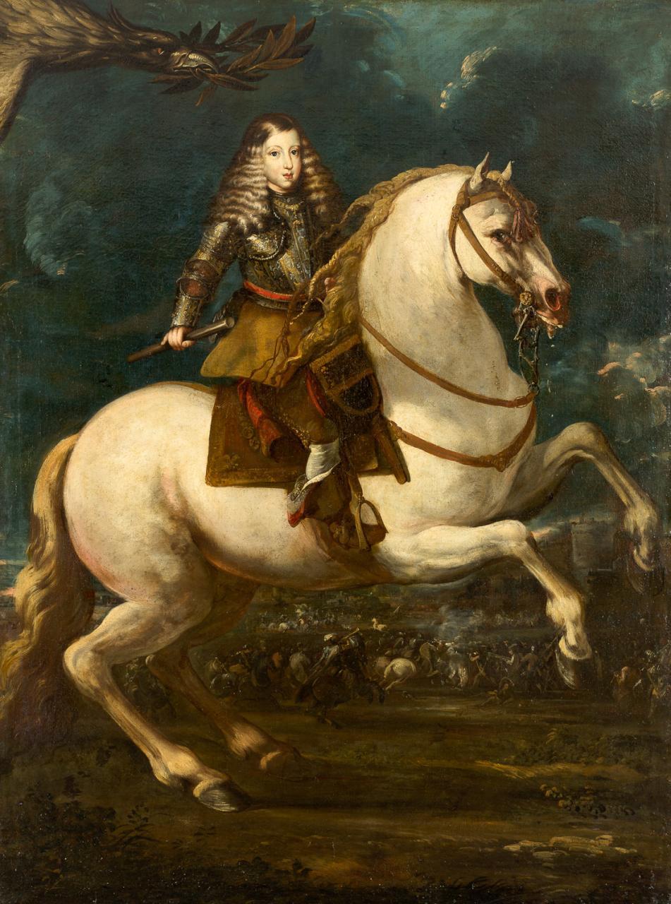 Retrato ecuestre de Carlos II joven – Atrubuido a Sebastián Herrera de Barnuevo