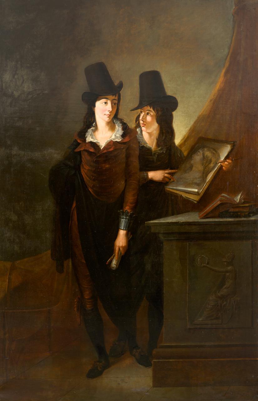 Retratos de dos jóvenes entre ruinas y relieves clásico – Johann Peter Von Langer