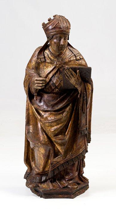 751 San Isidoro de Sevilla ESCUELA ESPAÑOLA S. XVI Escultura en madera tallada, policromada y sobredorada, c. 1510.00