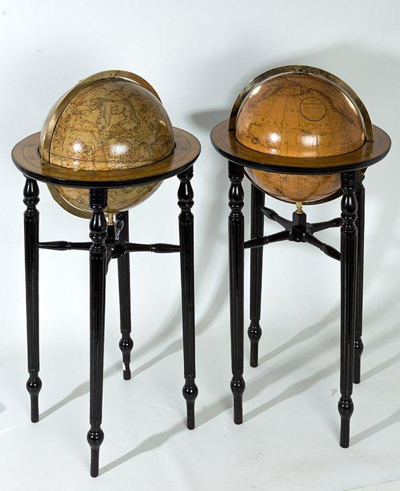 471 Pareja de globos, celeste y terrestre, de parket. Fabricados por CF. Cruchley, Map Seller Globe Marker & Publisher; 81 Fleet Street, London, hacia 1800.00