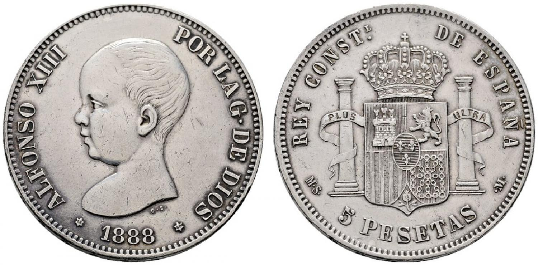 5 pesetas 1888 MSMS. Salida 1.300 euro. Cayón Subastas