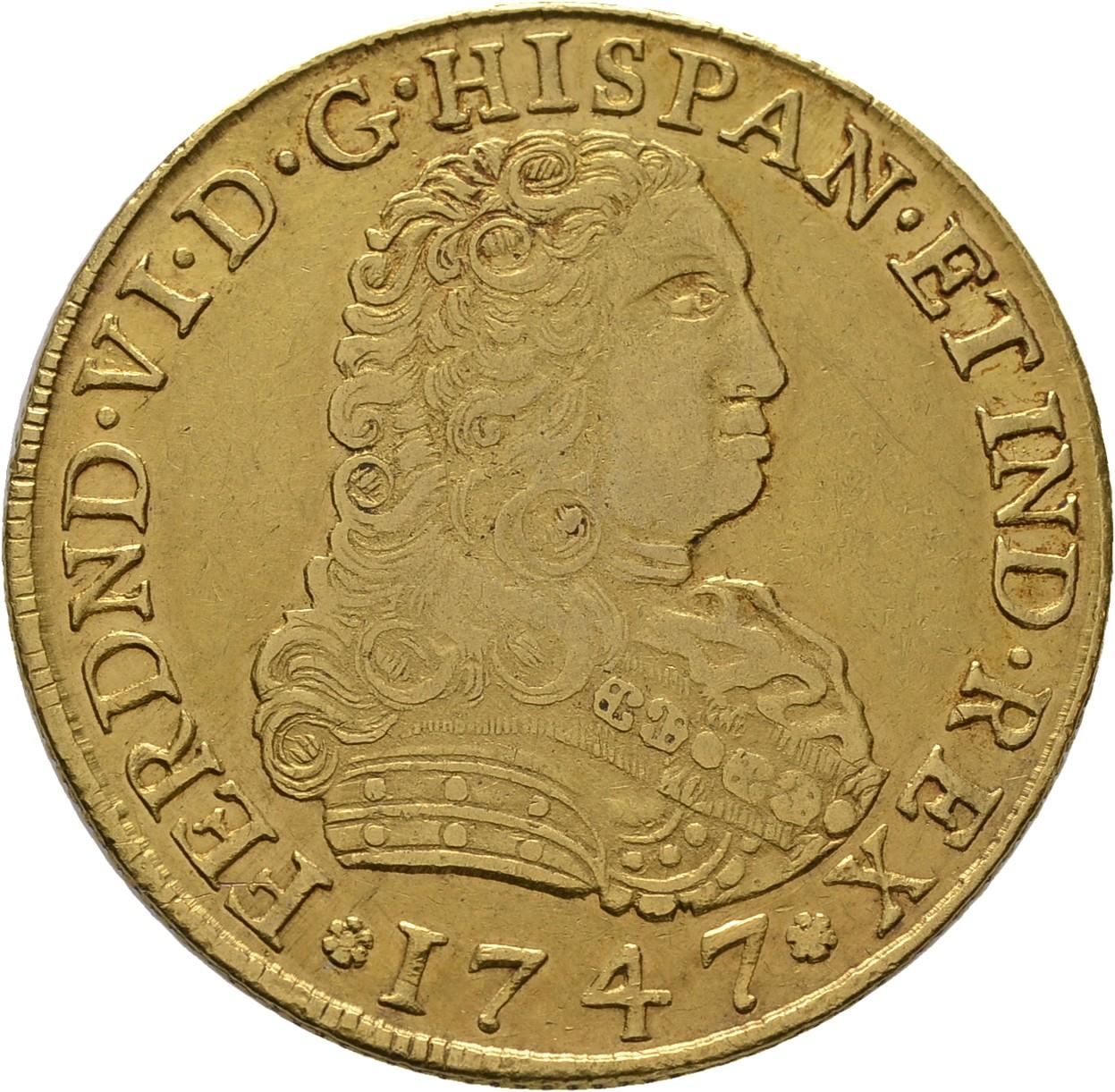 8 escudos de Méjico de 1747. Salida 18.000 euro. Cayón