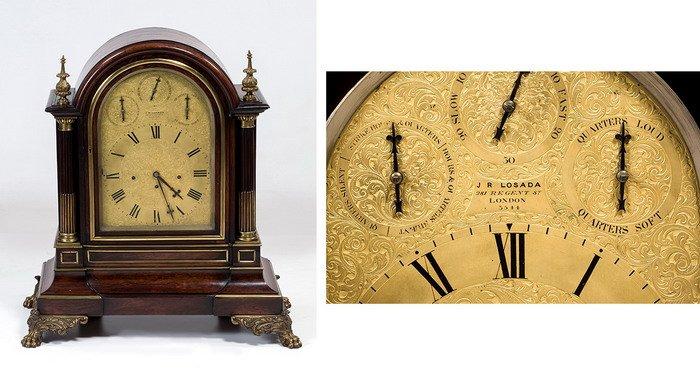 850 J.R. Losada Reloj Bracket Victoriano de sobremesa en madera de palosanto c.1855, latón dorado y bronce. Caja en madera de palosanto, latón y bronce.