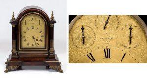 850 J.R. Losada Reloj Bracket Victoriano de sobremesa en madera de palosanto c.1855, latón dorado y bronce. Caja en madera de palosanto, latón y bronce.02