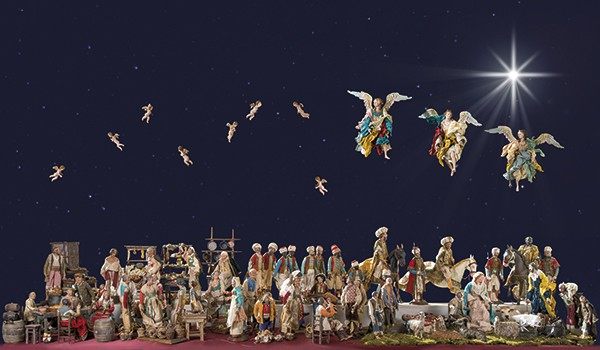 986 Belén Napolitano con aproximadamente 58 figuras realizadas en el taller de Carlo e Giuseppe Ferrigno S. XX.00