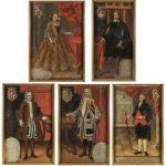 Escuela cuzqueña, siglos XVII y XVIII. Distintos personajes de la familia Vázquez Acuña. Salida: 7.000 y 5.000 euros, los dos primeros, y 6.000 euros cada uno de los inferiores. Remate final de los cinco retratos: 497.500 euros