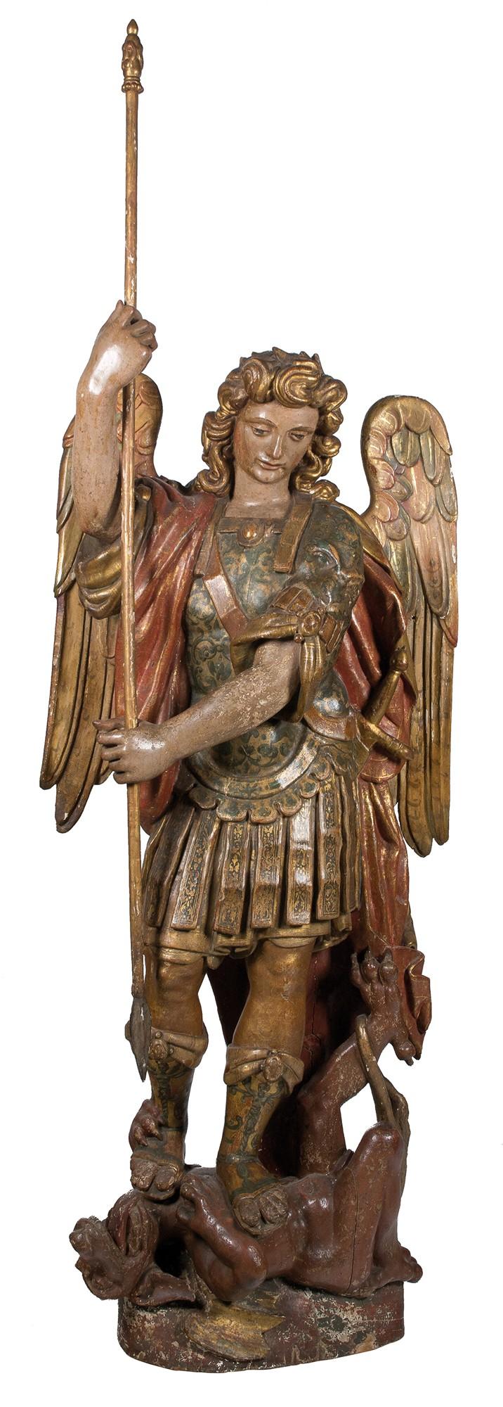 fl028_01 San Miguel Arcángel. Escultura en madera tallada, policromada y dorada. Escuela Vasco -Navarra. Principios del siglo XVI.00