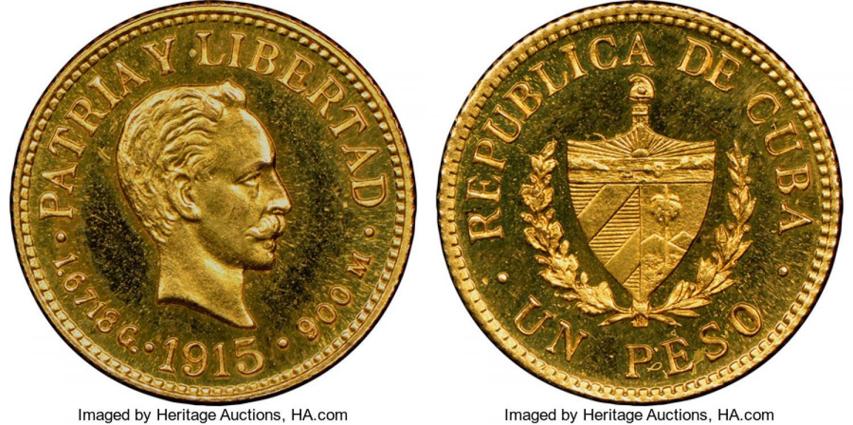 Peso cubano de 1916 en conservación excepcional. Estimación 150.000 $. Heritage (1)