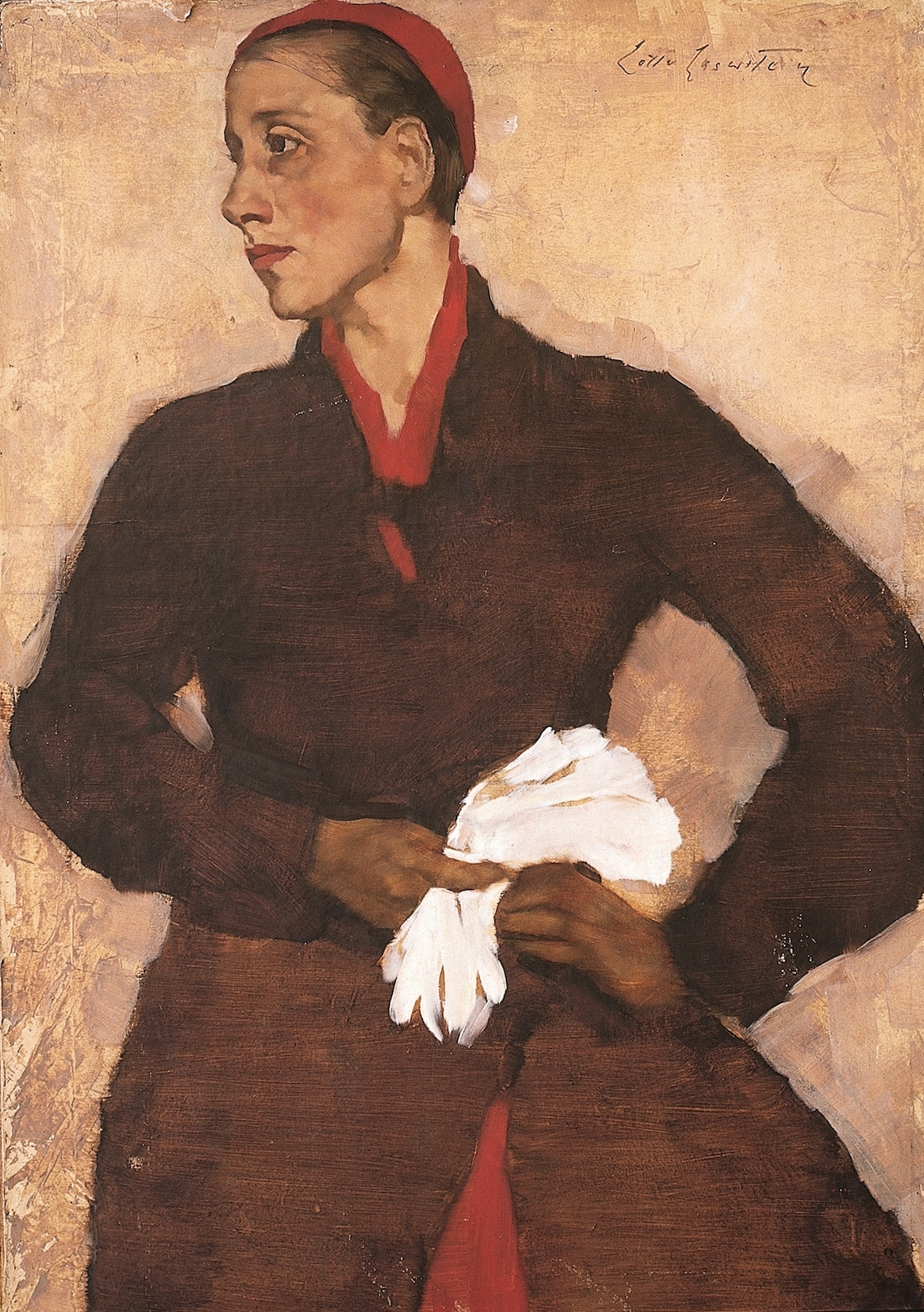 Traute Rose with white gloves – Lotte Laserstein