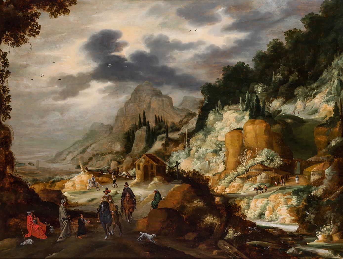 Joos de Momper el joven y Jan Brueghel el viejo. Paisaje con personajes. Salida y remate: 125.000 euros