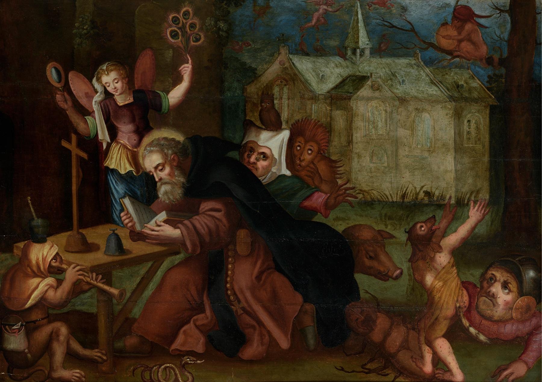 """Tentaciones de San Antonio Abad – seguidor de Jheronimus van Aken """"El Bosco"""