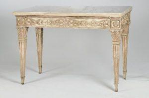 608 Consola italiana de pino policromado de gusto Neoclásico con tapa de mármol blanco original, Italia, S.XVIII.00