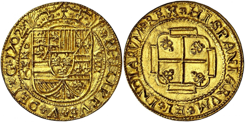 8 escudos de presentación. Felipe V. 1702. Salida 90.000 euro. Áureo&Calicó (1)