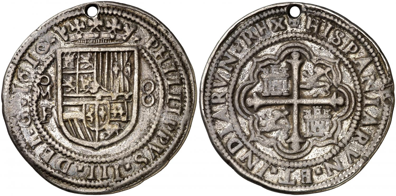 8 reales redondo. Felipe III. Méjico. 1610. Salida 18.000 euro. Áureo&Calicó (1)