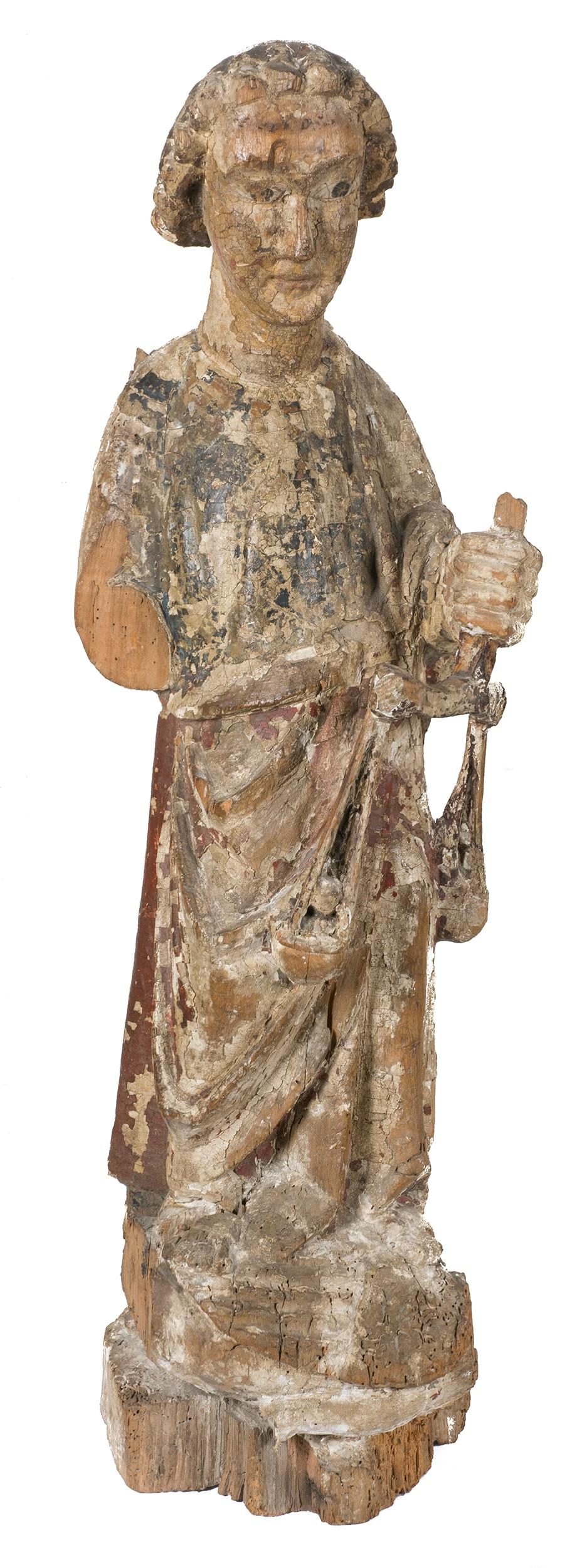 19.1 San Miguel Arcángel. Escultura en madera tallada y policromada. Cataluña. Románico. Siglo XIII.00