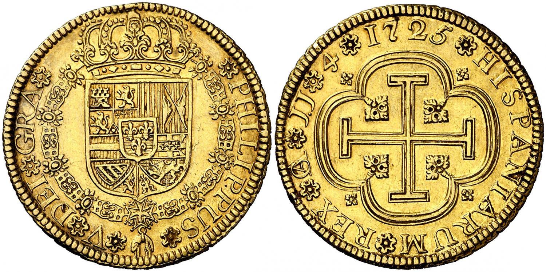 4 escudos. 1725. Cuenca. Salida 40.000 euro. Aureo&Calico