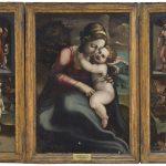Pedro Machuca. Tríptico de la Virgen María con Jesús, Adán y Eva, y los santos Roque y Sebastián. Salida: 40.000 euros. Remate: 180.000 euros